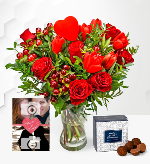 Flowers J'adore with Card - Valentine's Flowers + Personalised Valentine's Card - Valentine's Flower Delivery