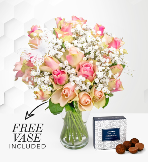 Pink Blush - Free Chocs + Free Vase - Flower Delivery - Next Day Flowers - Roses - Rose Bouquet - Birthday Flowers
