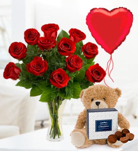 12 Roses, Bear & Balloon - Free Chocs