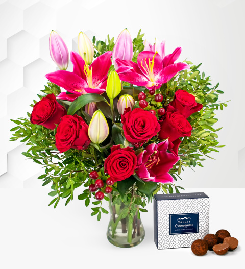 Be Mine - Free Chocs - Valentine's Flowers - Valentine's Day Flowers - Valentine's Flower Delivery - Red Roses and Lilies