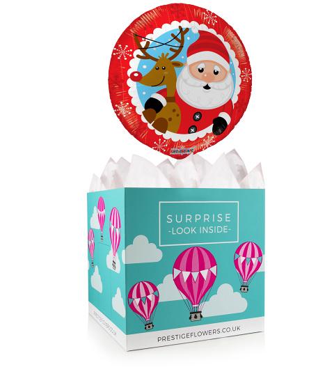 Jolly Santa Balloon - Balloon in a Box Gifts - Merry Christmas Balloons - Christmas Balloon Gifts - Xmas Balloons