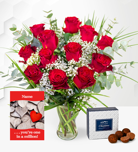 12 Red Roses with Card