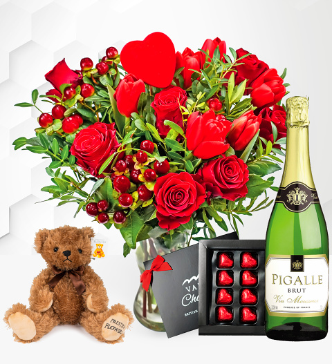 Flowers J'adore Gift - Valentine's Flowers with Bear, Balloon and Wine - Valentine's Gifts - Valentine's Gift Delivery - Valentine's Roses