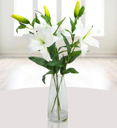Elegant Silk Lily Vase Silk Flowers 5499 Free Chocolates