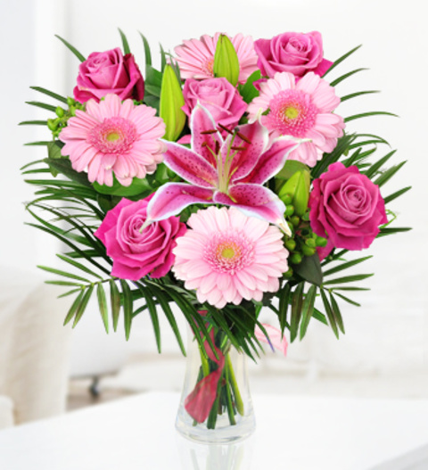 Pure pink same day flowers 3999 free chocolates prestige flowers pure pink 3999 mightylinksfo