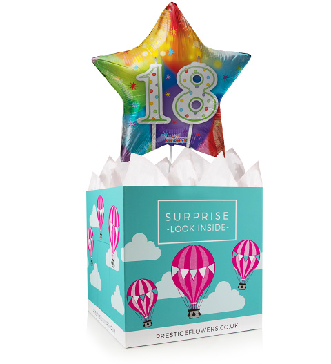Happy 18th Birthday - Balloon in a Box Gifts - Birthday Balloon Gifts - Balloon Gift Delivery - Balloon for Birthday