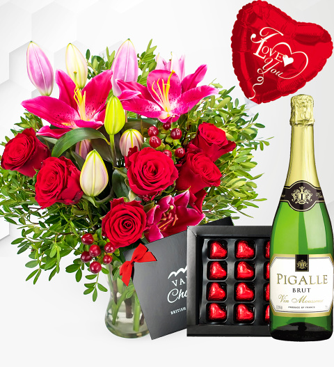 Be Mine Surprise - Valentine's Flowers with Luxury Chocs, Balloon and Wine - Valentine's Gifts - Valentine's Gift Delivery
