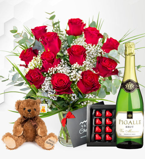 Valentine's Roses Gift – 12 Red Roses with Bear, Balloon and Wine – Valentine's Gifts – Valentine's Gift Delivery