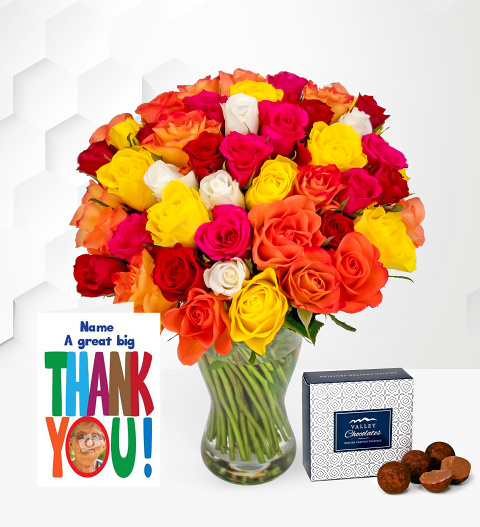 40 Roses with Thank You Card