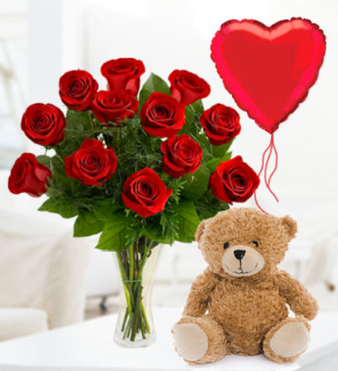 12 Roses, Bear & Balloon - Free Chocs