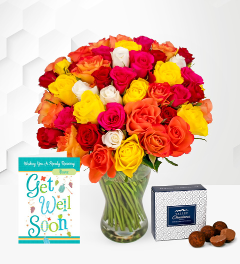 40 Roses with Get Well Card