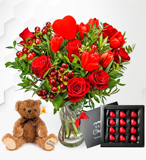 Flowers J'Adore Bundle - Valentine's Flowers with Bear and Luxury Chocolates - Valentine's Gifts - Valentine's Bouquets