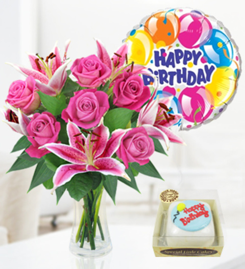 Rose Lily Balloon Birthday Cake Combos 2999