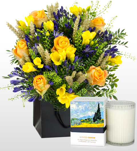 Wheatfields Bouquet and Candle