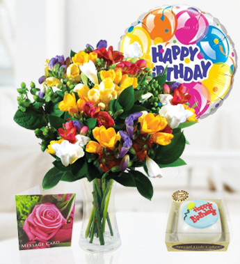 Birthday Cake With Flowers And Balloons Image Inspiration of