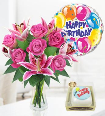 Rose Lily Balloon Birthday Cake Birthday Combos 2999 FREE