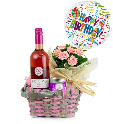 Birthday Rose and Gift Basket