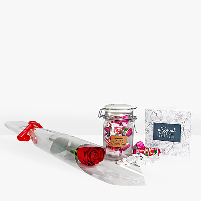 BM Single Rose and Jar of Hearts