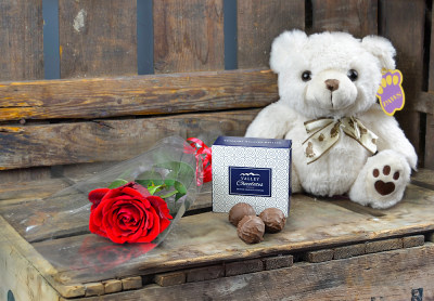 Single Rose, Bear and Chocs
