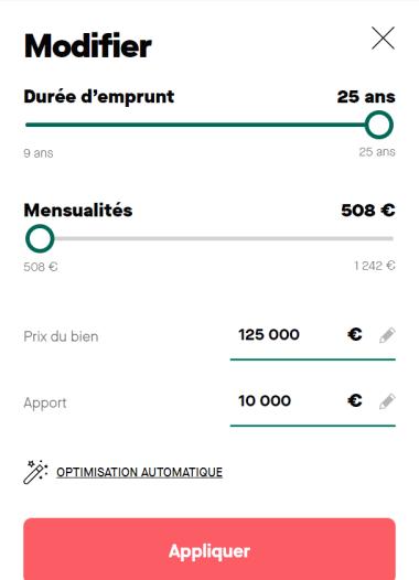 Simulation prêt immobilier de 125 000 euros sur 25 ans et salaire mensuel de 3 500 euros