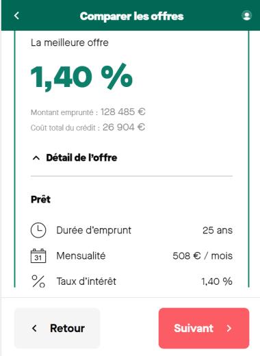 Simulation prêt immobilier de 122 036 euros sur une durée de 25 ans