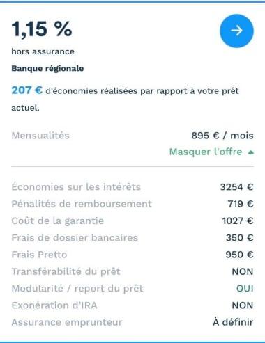 Simulation prêt immobilier renégocié avec mensualités de 895 euros