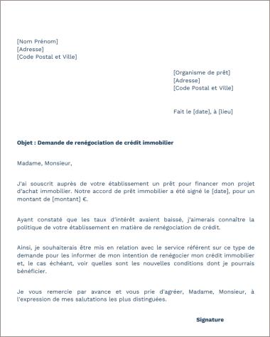lettre de renegociation 2