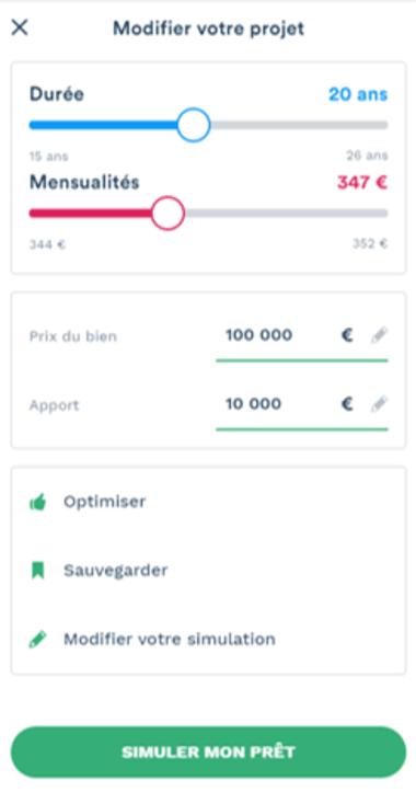 Simulation prêt immobilier de 100 000 euros sur 20 ans avec mensualités de 347 euros