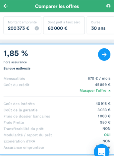Simulation prêt immobilier de 200 373 sur 30 ans dont un PTZ de 60 000 euros