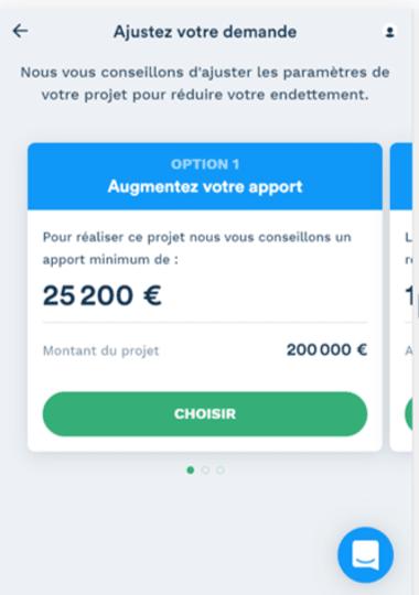 Simulation prêt immobilier de 200 000 euros avec apport de 25 200 euros option 1