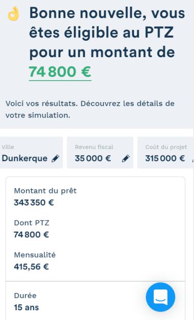 Simulation montant du PTZ de 74800 € pour un projet de 315000 euros