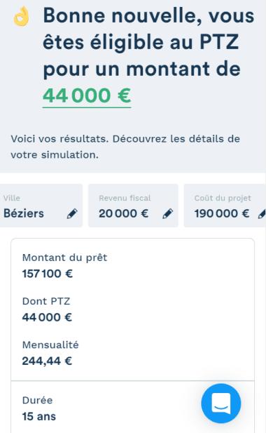 Simulation montant du PTZ de 44000 pour un projet de 190000 euros