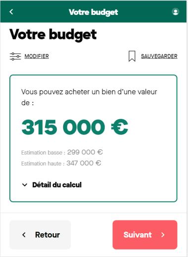 Simulation de prêt immobilier avec un emprunt de 300 000 euros sur 20 ans