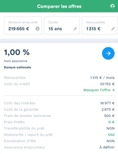 exemple de simulation pour un achat locatif à Montpellier