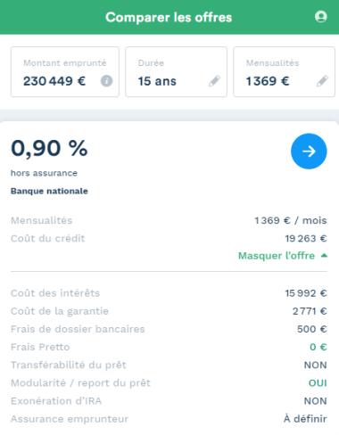 exemple de simulation avec Pretto pour un achat à Nantes
