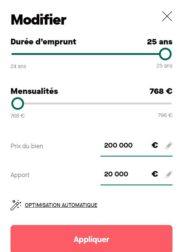 Simulation de prêt immobilier de 200 000 euros avec une mensualité de 708 euros