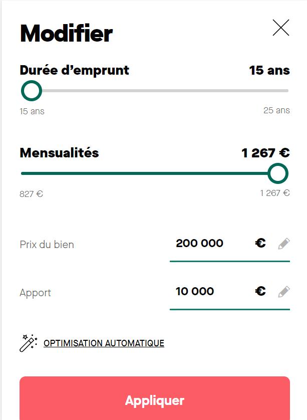 Simulation prêt immobilier sur 15 ans avec apport de 10 000 € et mensualités de 982 €