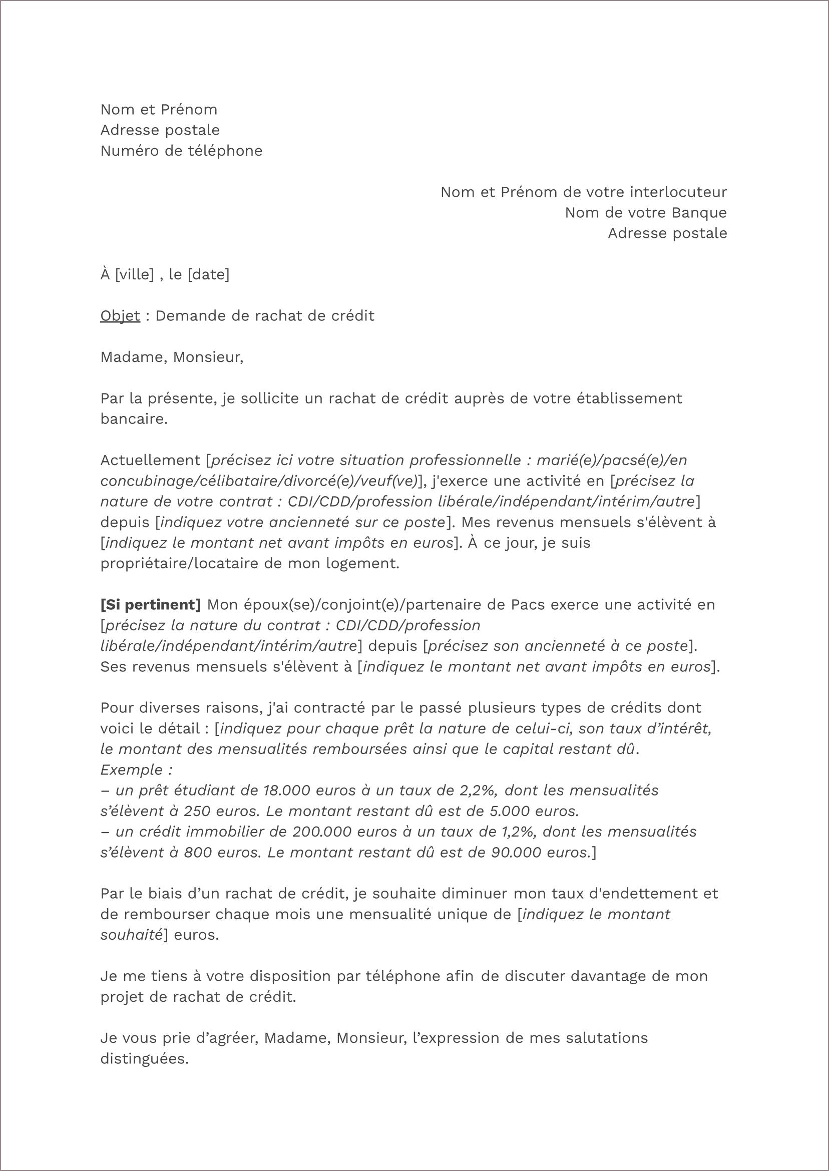 Modèle de lettre de rachat de prêt