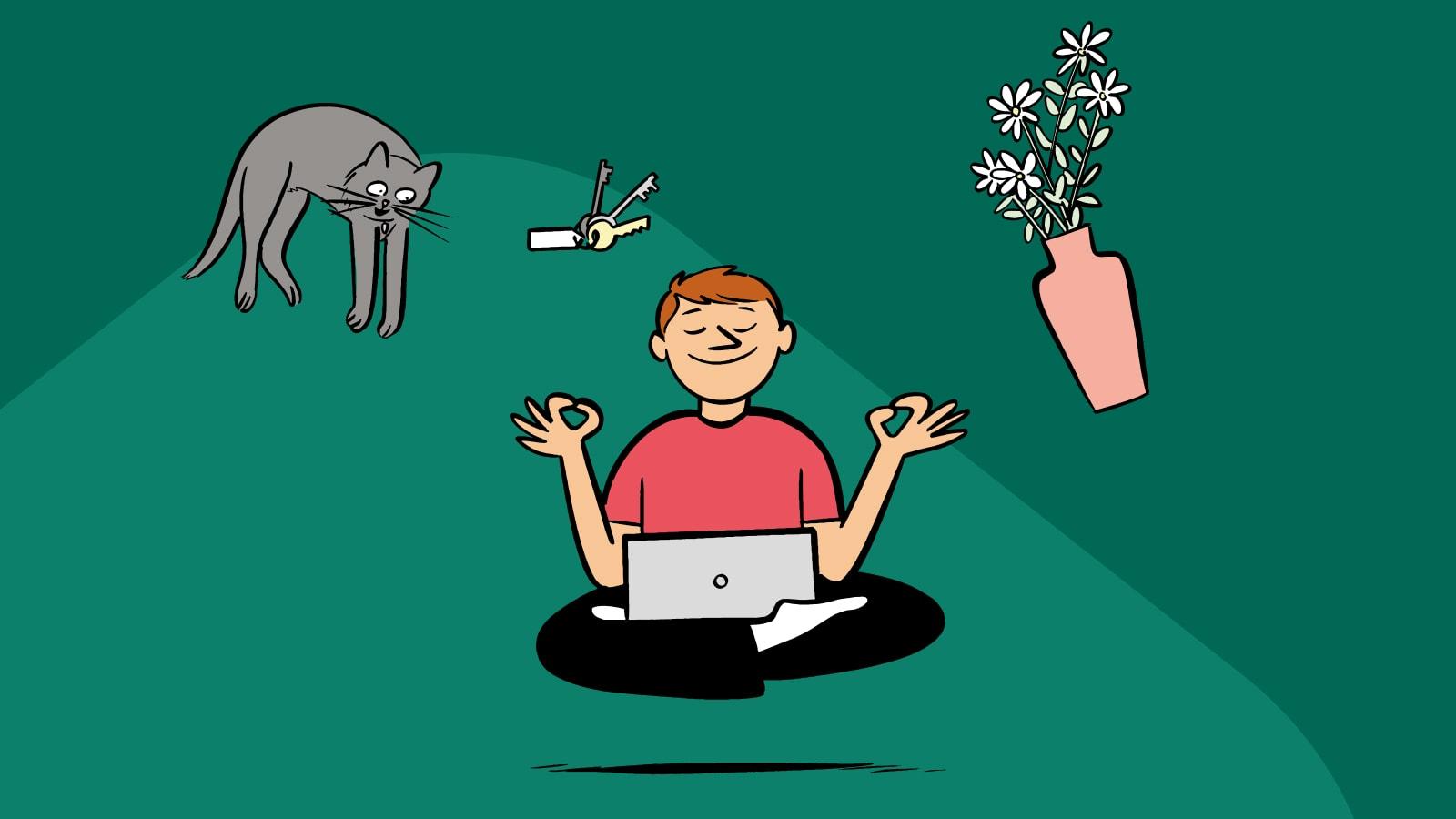 Personne qui fait du yoga avec un ordinateur