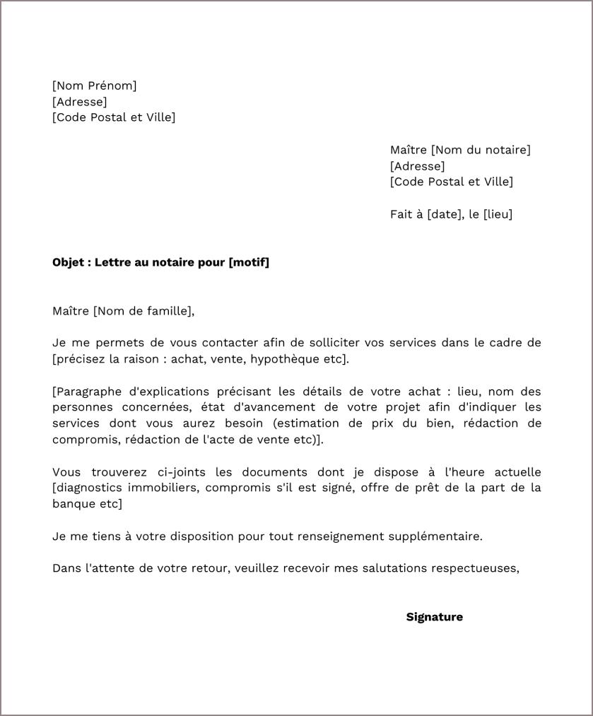 Modèle de lettre type au notaire
