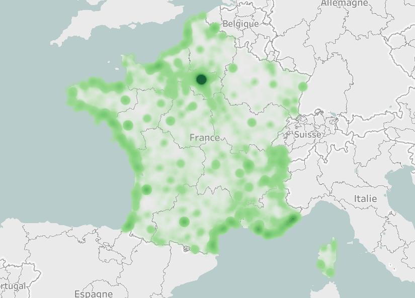 Heatmap qui représente les communes visés pour une résidence secondaire