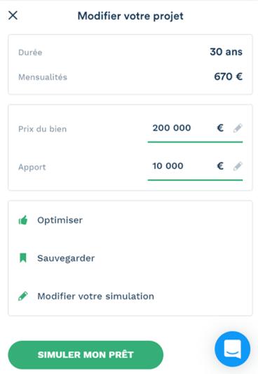 Simulation de prêt immobilier sur 30 ans avec une mensualité de 670 euros