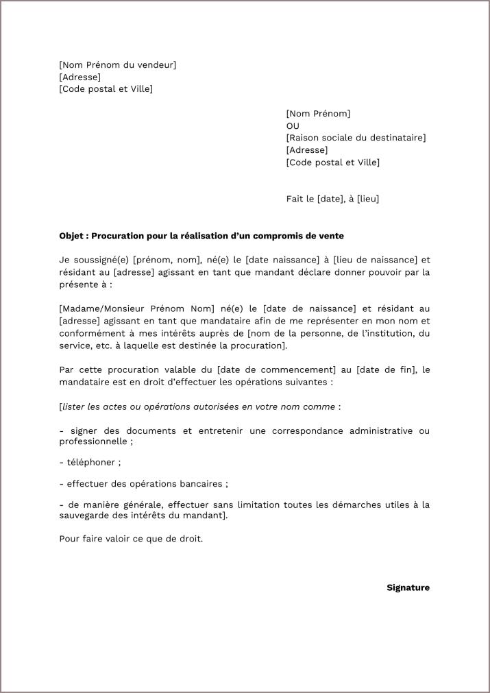 Modèle de procuration signature compromis de vente
