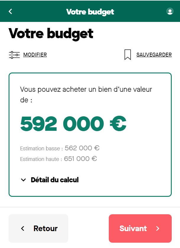 Simulation achat d'un bien d'un montant de 450 000 euros sur 25 ans