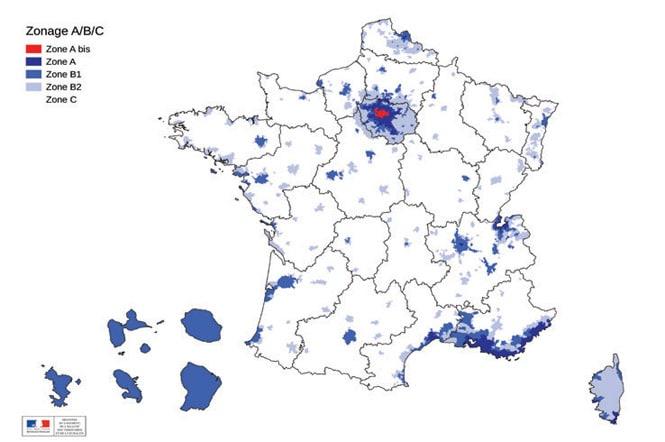carte des zones du ptz en 2020