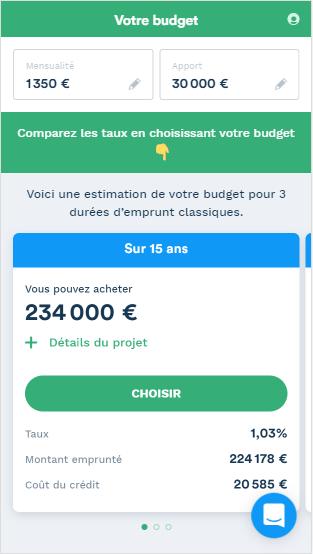 Votre budget selon le simulateur en ligne de Pretto.