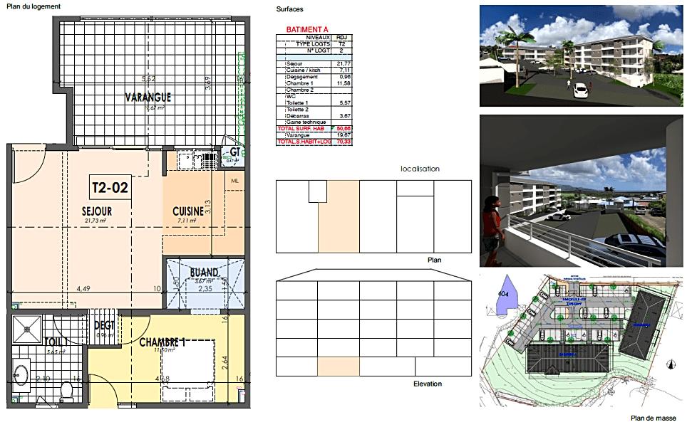Appartement T2 de 50,66 m2 à Ducos