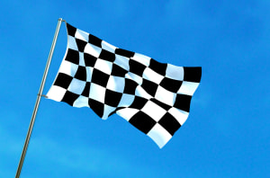 Racing flag waving for MotoGP and Formula One