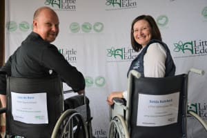2020 Leon de Beer of SAFMH and Xelda Rohrbeck of LITTLE EDEN at the 2020 CEO Wheelchair campaign launch