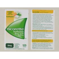 NICORETTE 6MG CH/GUM FRUIT 105'S